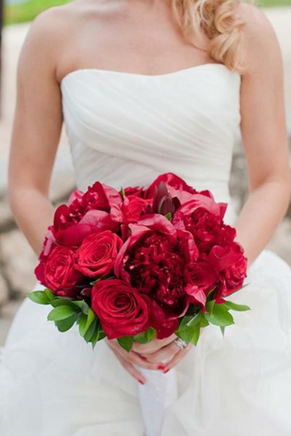 Hochzeitsblumen Brautsträuße Bilder rot leuchtend