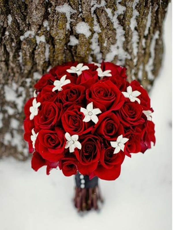 Hochzeitsblumen coole brautsträuße bilder weiß rot