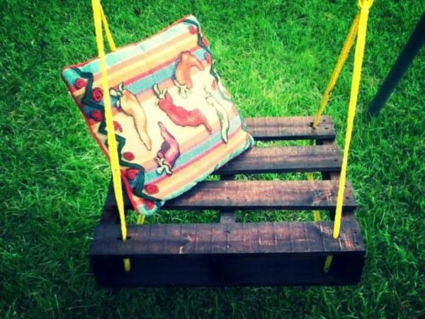 malerei Gartenschaukel aus Paletten stuhl seil