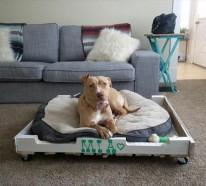 Hundebetten aus Holz – große Hundesofas aus Europaletten selber machen