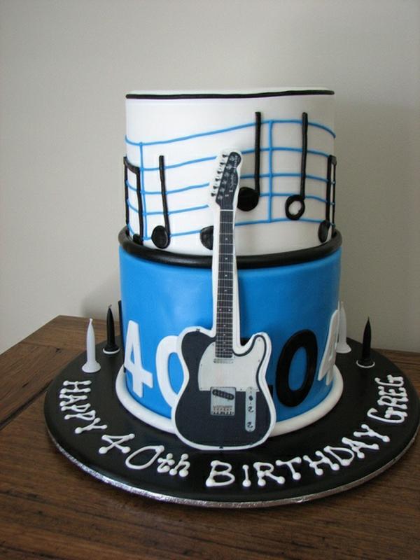 Leckere Musik Torten blau gitarre