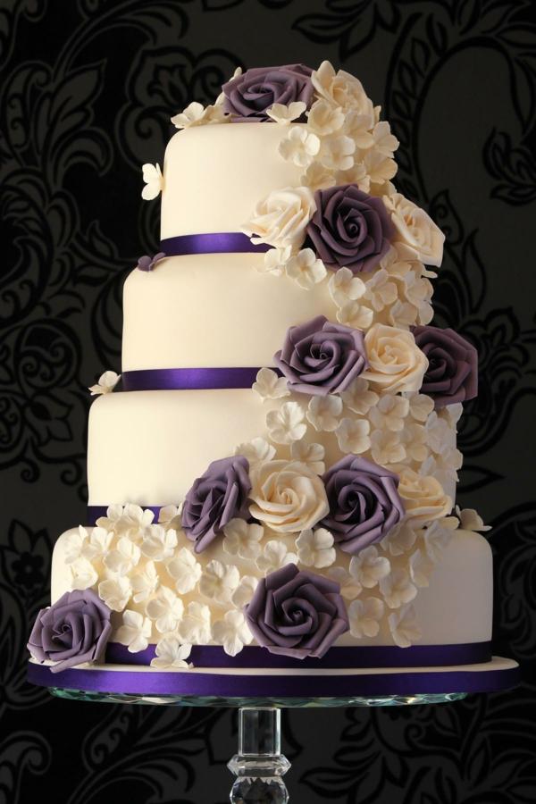 violett lila Hochzeitskuchen und Torten glasur