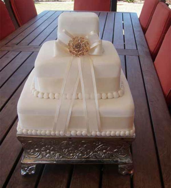 blumen golden Hochzeitstorten kuchen braut perlen