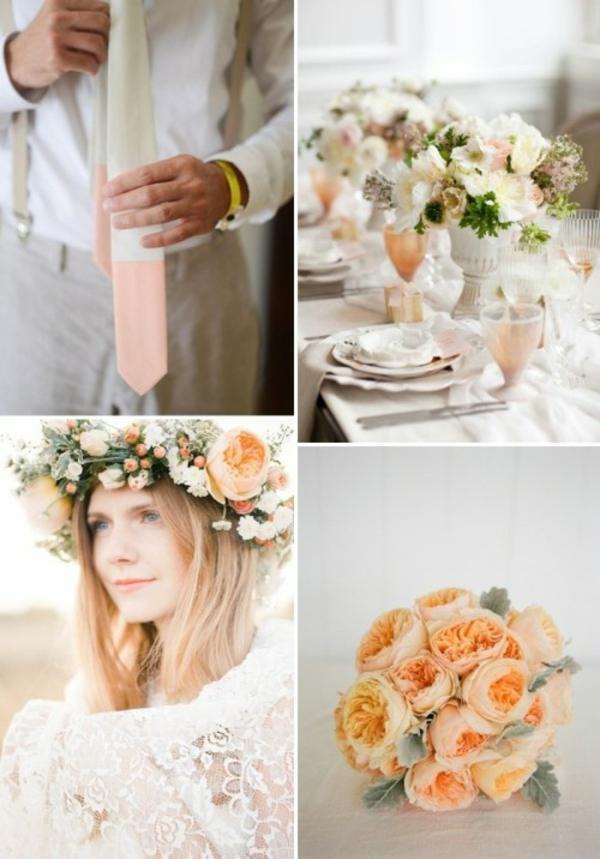 Hochzeitsdeko in Cremig und Pfirsichfarben attraktiv