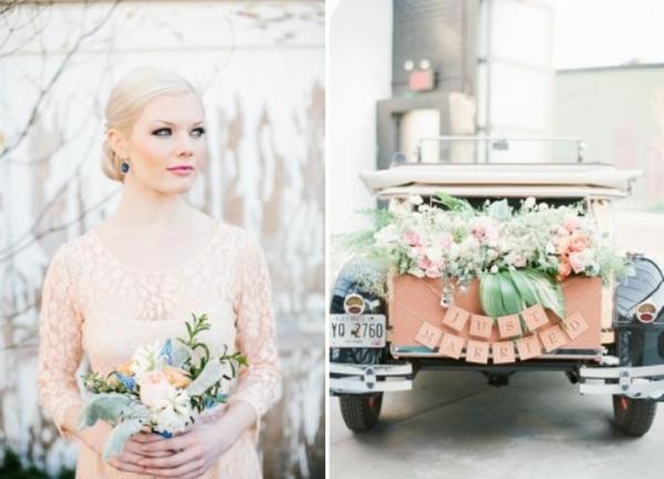 Hochzeitsdeko Cremig und Pfirsichfarben cool