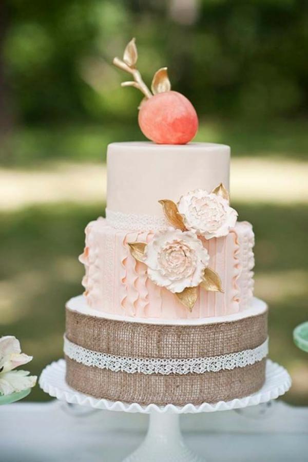 Hochzeitsdeko Meine Cremig und Pfirsichfarben mehrstöckig torte