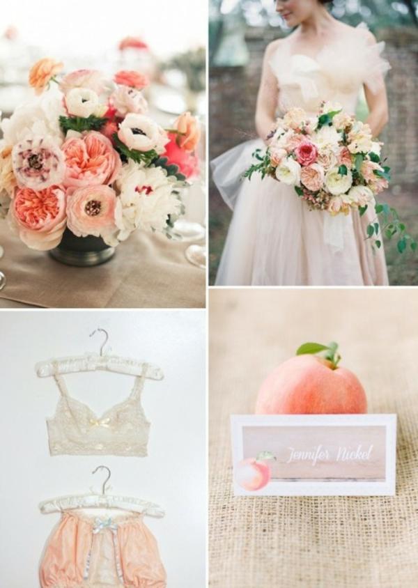 Hochzeitsdeko in Cremig und Pfirsichfarben