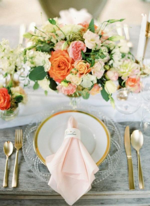 Hochzeitsdeko Pfirsichfarben tischdecke