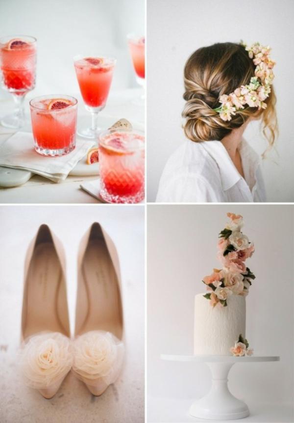 Meine Hochzeitsdeko Cremig Pfirsichfarben zubehör
