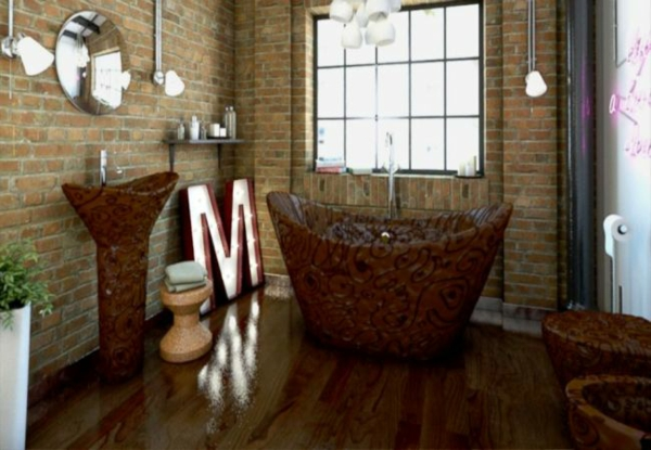Moderne Badezimmereinrichtung schokolade belgisch