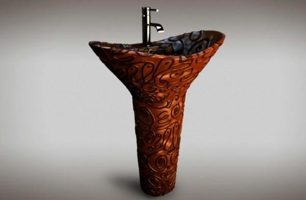 sockel Badezimmereinrichtung waschbecken schokolade
