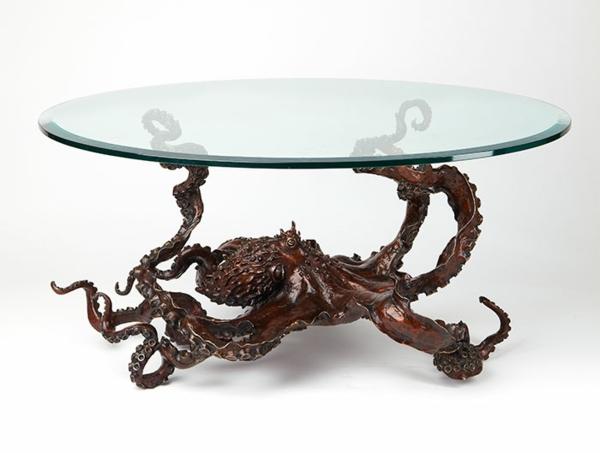 Oktopus-Möbel-dekoartikel-art-modern-couchtisch-rund-glas