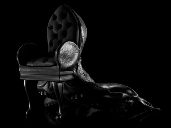 Oktopus stuhl Möbel dekoartikel art modern leder sessel schwarz