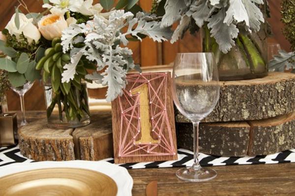 Rustikale Hochzeitsdeko selber machen warme Erdfarben weingläser