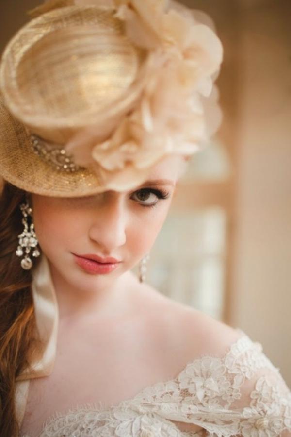brauthut Hochzeitsdekoration Ideen dekoideen hochzeit frisur
