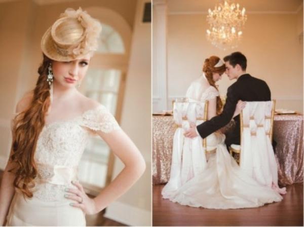 Hochzeitsdeko brauthut Ideen dekoideen hochzeit glück