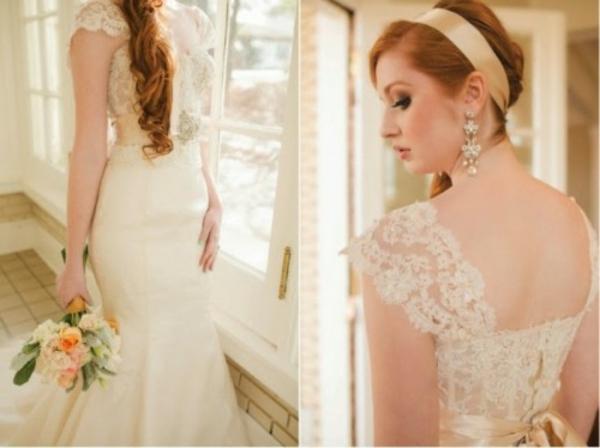 golden kopfschmuck Hochzeitsdeko Ideen dekoideen hochzeit kleid