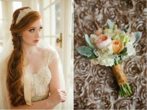 Scheinende Hochzeitsdeko brautstrauß Ideen dekoideen hochzeit zart