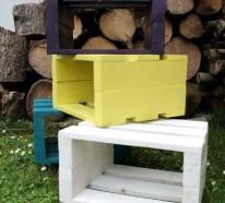 Sitzhocker aus Holzpaletten – Farbenpracht und Nützlichkeit