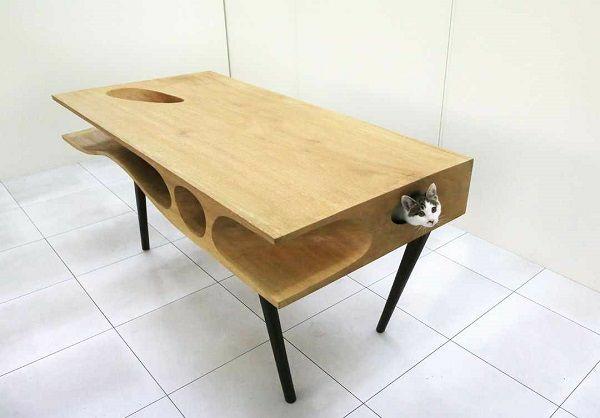 Katzenmöbel und Kratzbäume tisch holz