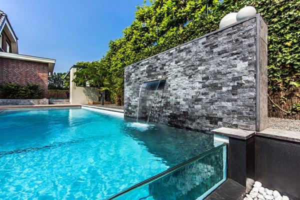 Wellness Einrichtung und Schwimmbad im Garten trennwand