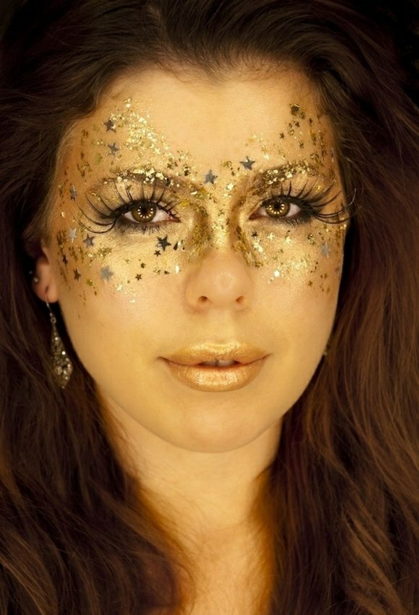 halloween schminken ideen gold
