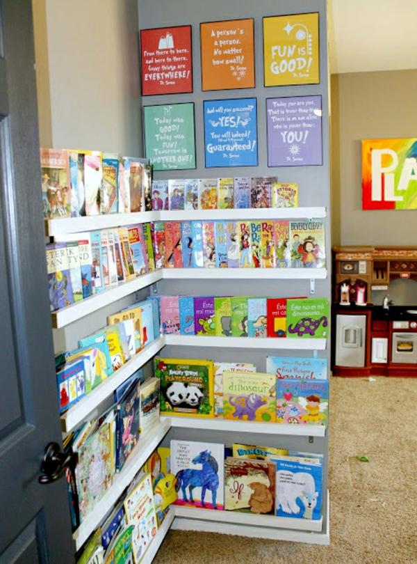 Bücherregal wand kinderzimmer  Aufbewahrung Kinderzimmer - praktische Designideen