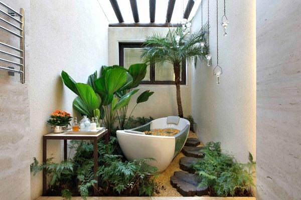 badezimmer einrichten zimmerpflanzen badmöbel