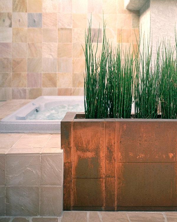 badezimmer einrichten zimmerpflanzen eingebauter pflanzenbehälter