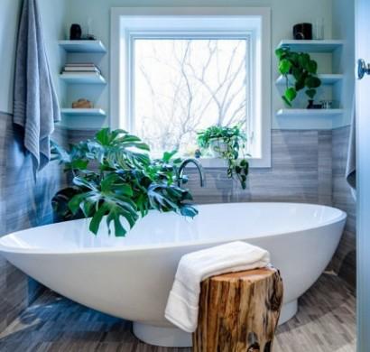 wohnideen gr ne zimmerpflanzen im badezimmer. Black Bedroom Furniture Sets. Home Design Ideas