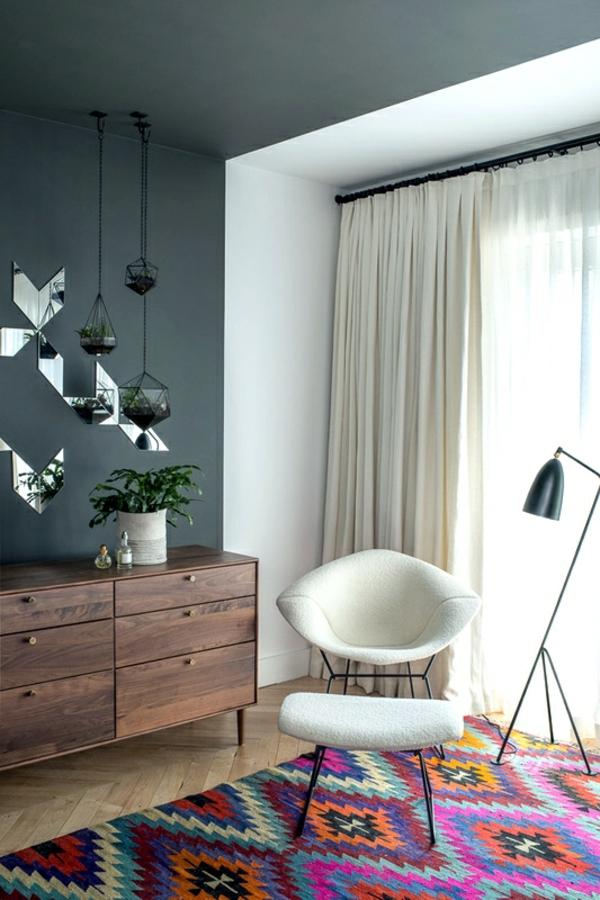 bunte teppiche modern stuhl gardinen