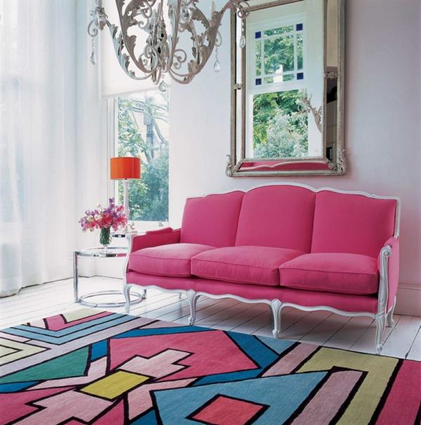 bunte teppiche sofa polsterung rosa