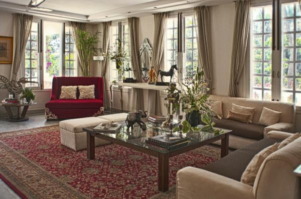einrichtungsideen indischen stil wohnzimmer teppich sofa