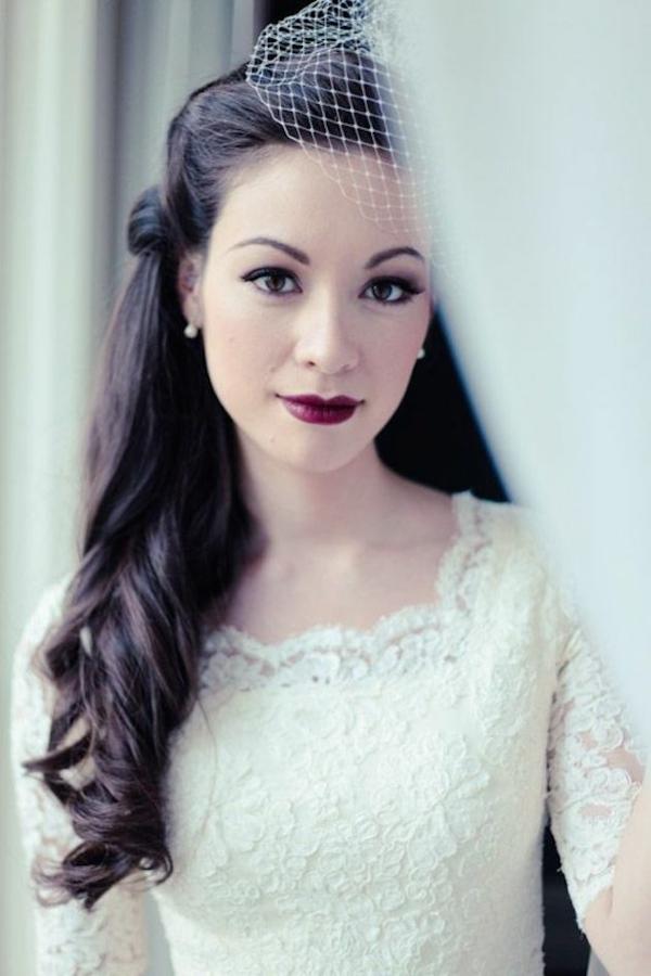 Vintage Wedding Hair And Makeup : Brautfrisur halboffen - kommen Sie mit Stil unter die Haube!