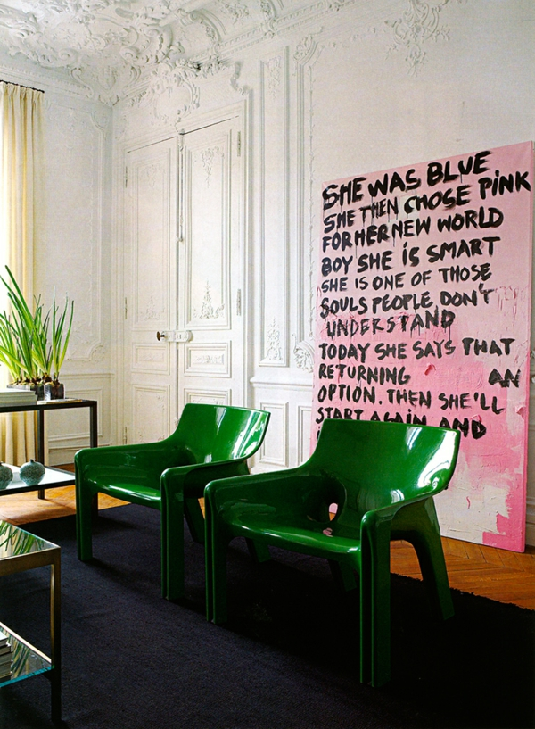 coole einrichtungsideen wohnzimmer grüne stühle