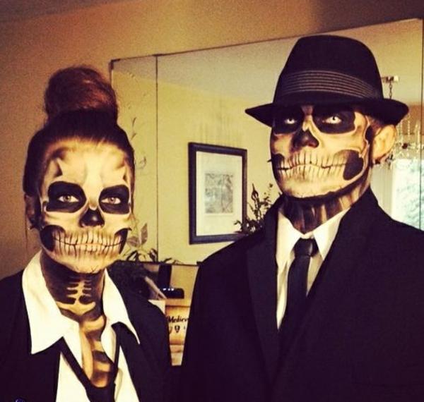 halloween kostüme skelett paar