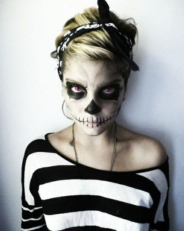 halloween schminktipps party make up schwarz weiß
