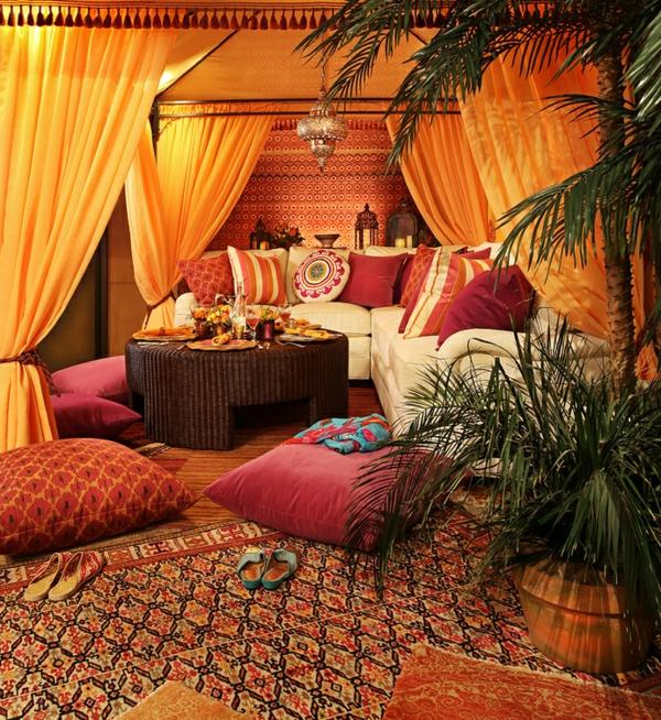 Indisches Schlafzimmer Gestalten ~ einrichtungsideen im indischen stil sofadekokissen rattanmöbel