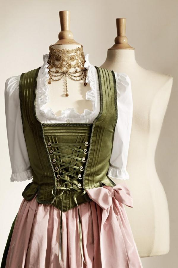 damen trachtenmode drindl kleider drindl schürze altrosa oktoberfest 2014