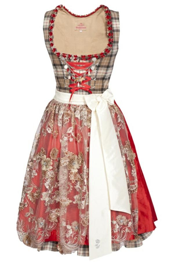 damen trachtenmode drindl kleider oktoberfest 2014 karrostoffe spitze rot