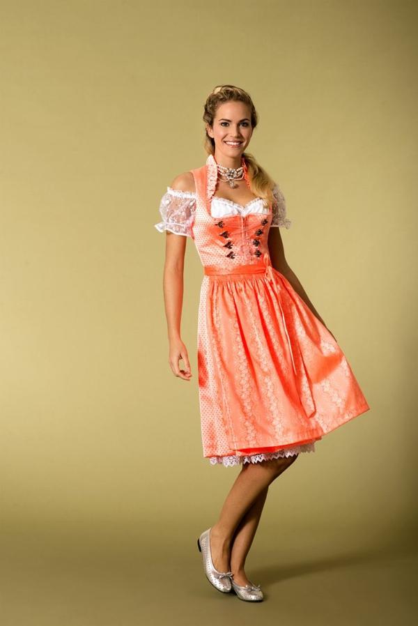 damen trachtenmode drindl kleider oktoberfest 2014 modetrends farben orange