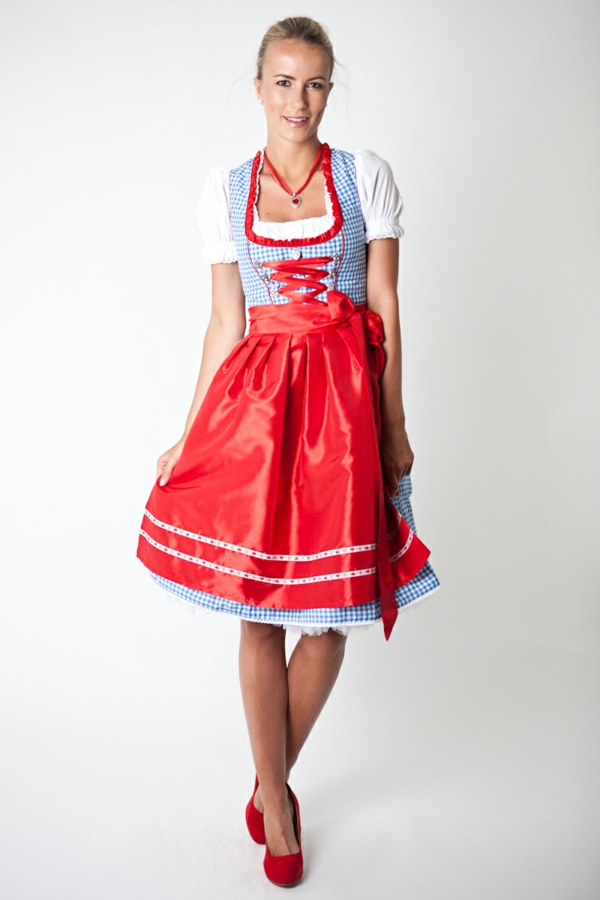 damen trachtenmode drindl schürze rot drindl kleider karrostoffe oktoberfest 2014