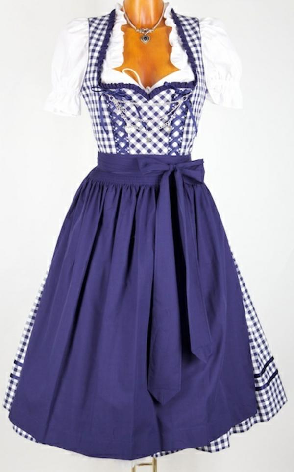 damen trachtenmode kleider drindl schleife blau karrostoffe modetrends oktoberfest 2014