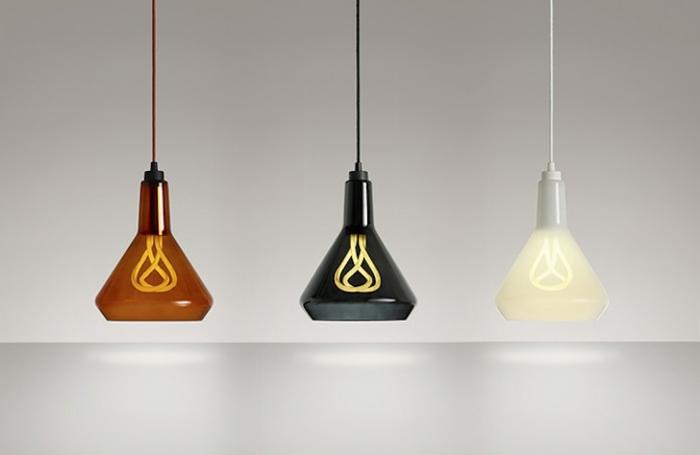 designer leuchten hulger glühbirnen modern pendelleuchten aus glas farbig