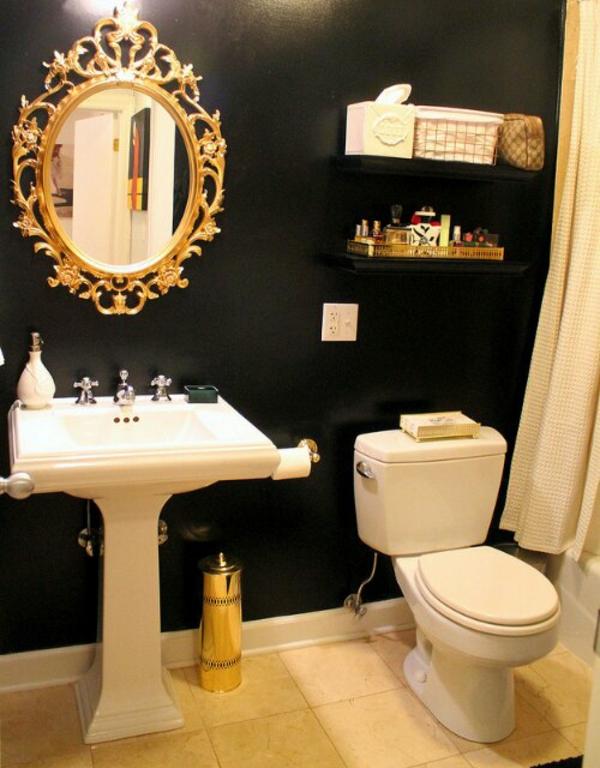 dunkle flecken spiegel klassisch ornamente badezimmer waschbecken