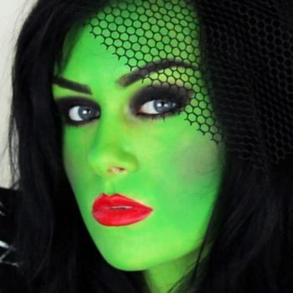 halloween schminken ideen grünes gesicht