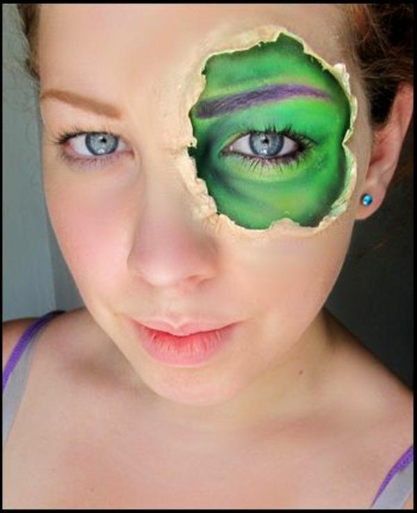 halloween schminktipps grünes auge