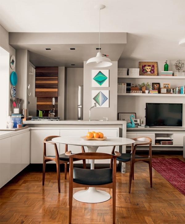 einrichtungsideen kleine wohnung einrichten esstisch mit stühlen küche offener wohnbereich