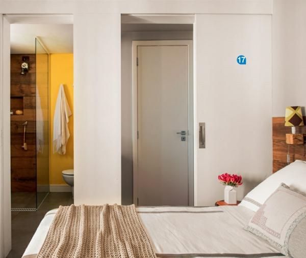 Einrichtungsideen Schlafzimmer Möbel Bett Schiebetür Platzsparende  Wohnideen Einrichtungsideen, Wie Man Eine Kleine Wohnung ...