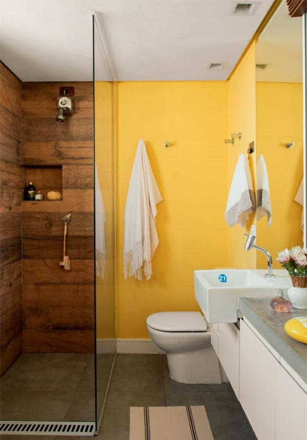 einrichtungsideen wohnideen arbeitszimmer badezimmer einrichten bodengleiche dusche wandfarbe gelb